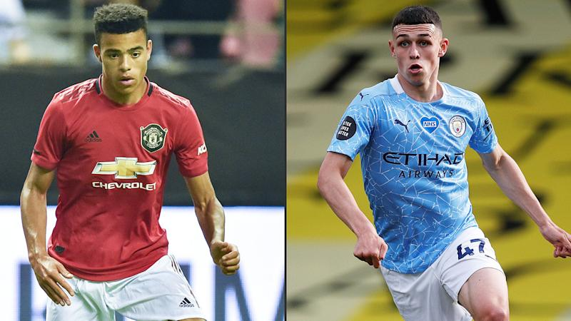 Mason Greenwood and Phil Foden, pictured here in action in the Premier League.