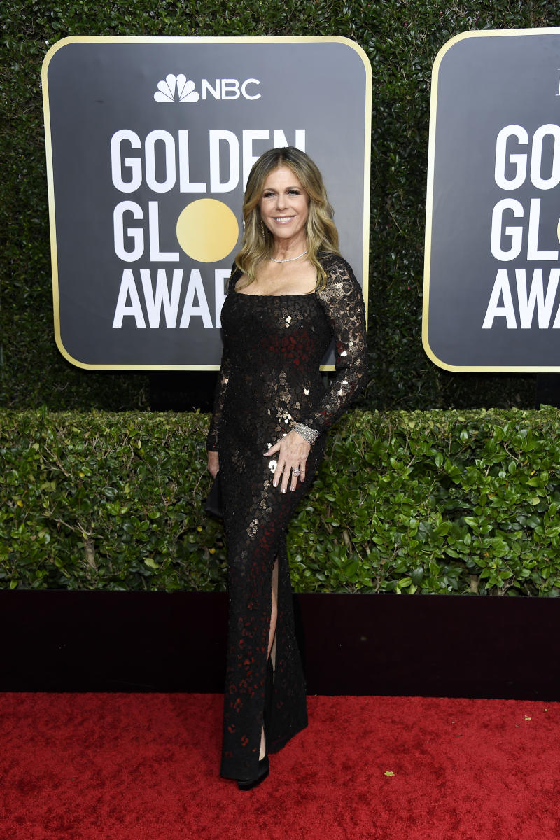 BEVERLY HILLS, CALIFORNIA - JANUARY 05: 77th ANNUAL GOLDEN GLOBE AWARDS -- Pictured: Rita Wilson arrives to the 77th Annual Golden Globe Awards held at the Beverly Hilton Hotel on January 5, 2020. -- (Photo by: Kevork Djansezian/NBC/NBCU Photo Bank via Getty Images)