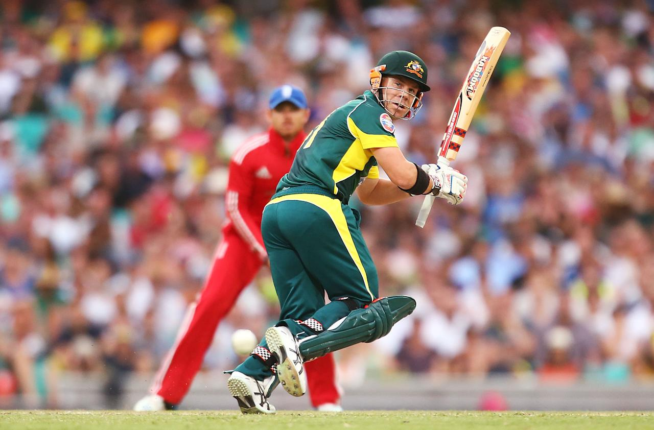 SYDNEY, AUSTRALIA - JANUARY 19:  David Warner of Australia bats during game three of the One Day International Series between Australia and England at Sydney Cricket Ground on January 19, 2014 in Sydney, Australia.  (Photo by Mark Nolan/Getty Images)