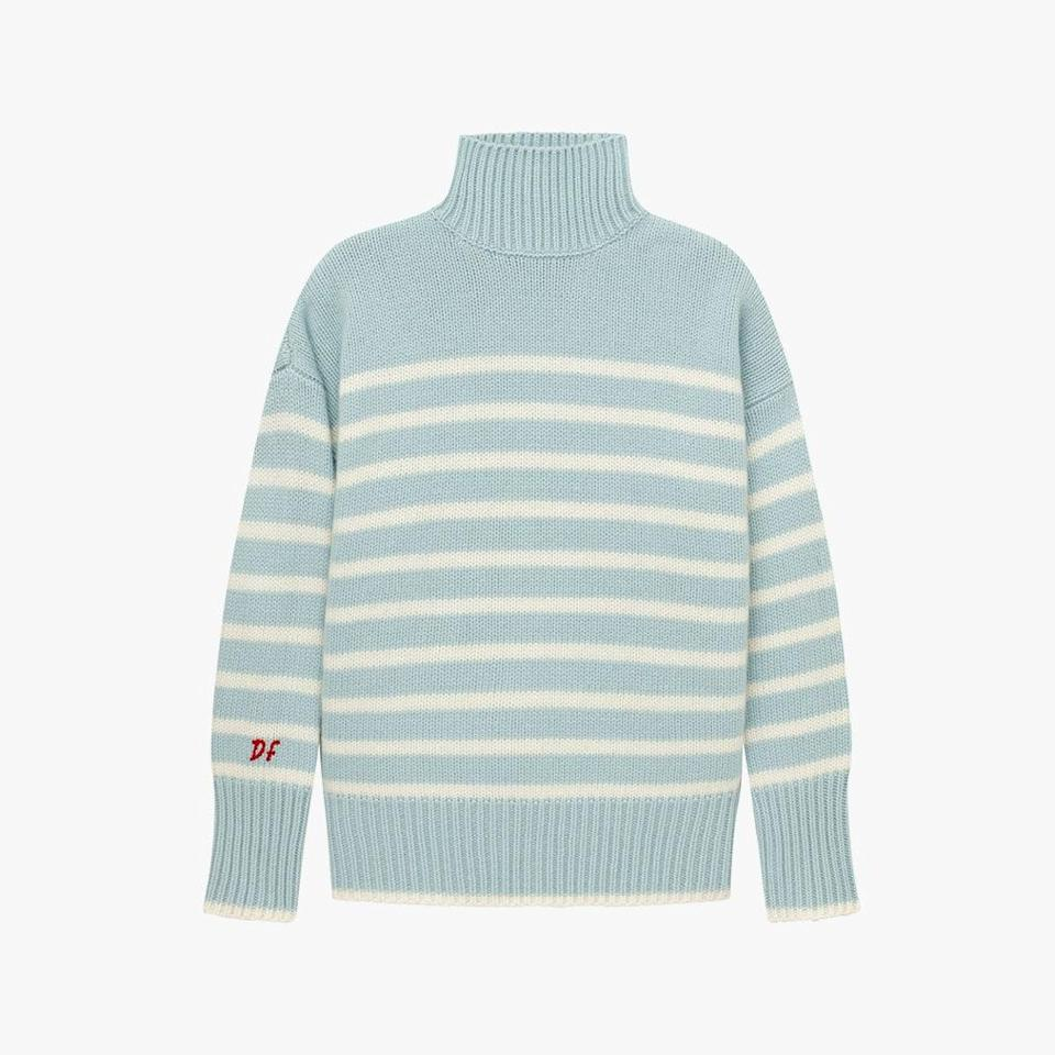 "$295, LA LIGNE. <a href=""https://lalignenyc.com/collections/marin-anniversaire/products/marin-turtleneck-light-blue-cream"" rel=""nofollow noopener"" target=""_blank"" data-ylk=""slk:Get it now!"" class=""link rapid-noclick-resp"">Get it now!</a>"