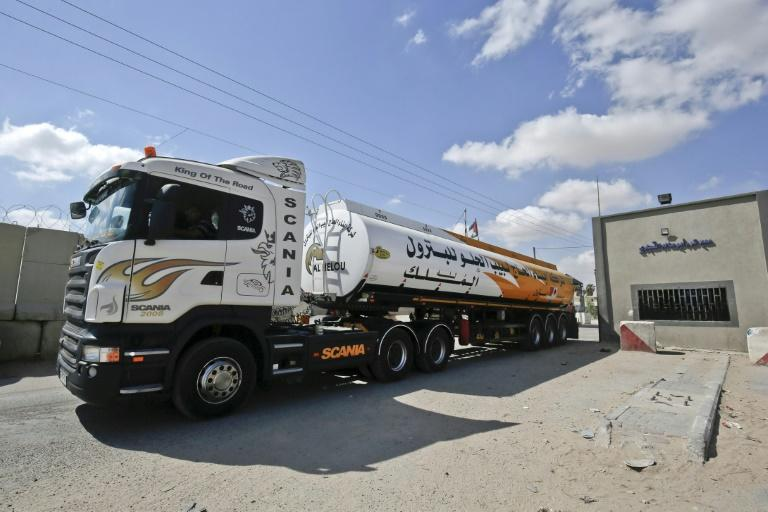 A fuel tanker arrives at Kerem Shalom crossing in the southern Gaza Strip on August 15, 2018