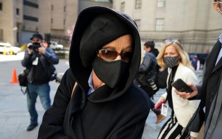 Ghislaine Maxwell's sister, Isabel Maxwell, is seen after her sister's first appearance in court since her arrest, in Manhattan federal court April 23, 2021