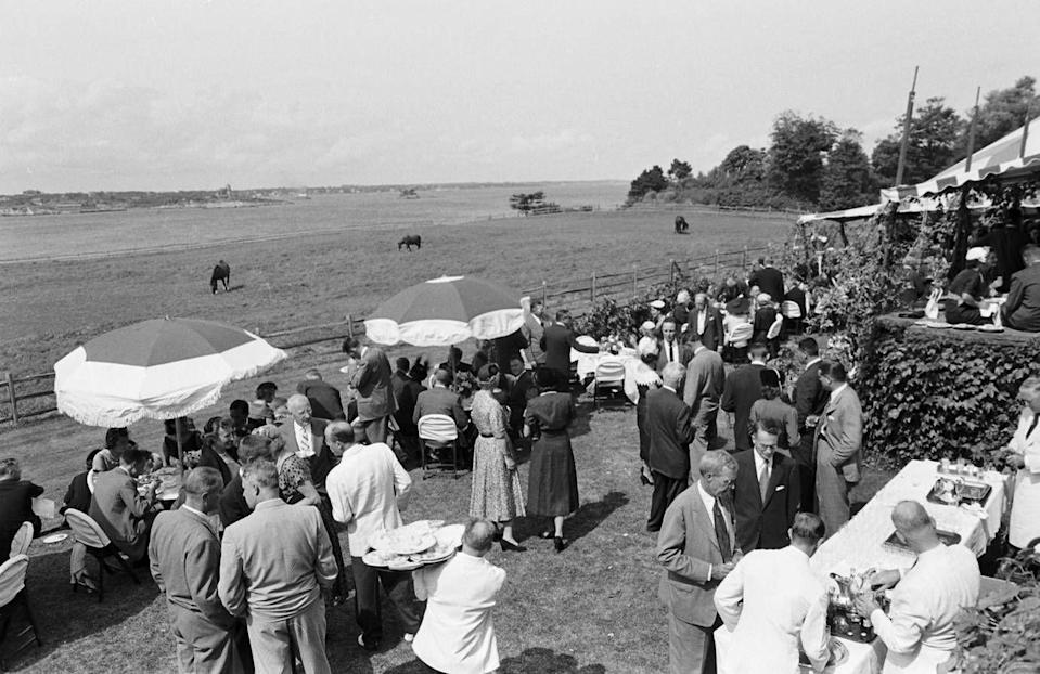 <p>The sun was shining as guest enjoyed food and beverages with a view of the farmland.</p>