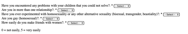"""An anonymous questionnaire for male ministers on the Jesus House website asked survey-takers whether they have """"experimented"""" with """"homosexuality [or] beastiality""""."""