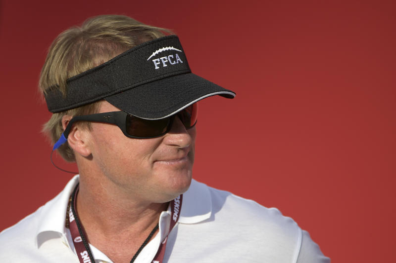 ESPN broadcaster, and former head coach Jon Gruden could be pursued by the Oakland Raiders to get back into coaching. (AP)