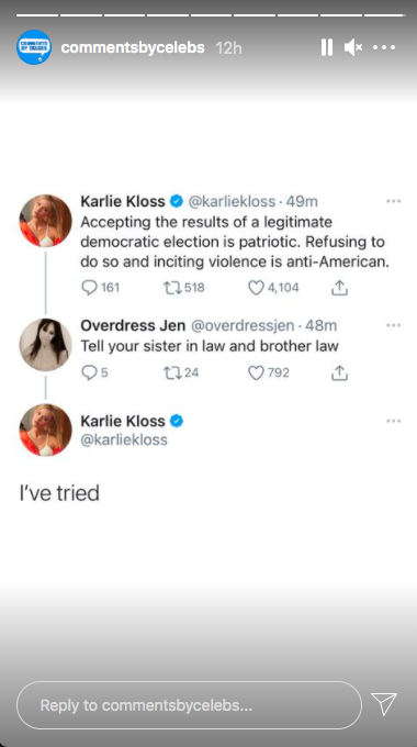 """Comments By Celebs Instagram Story: Karlie Kloss responds to Ivanka Trump comment saying """"I've tried"""""""