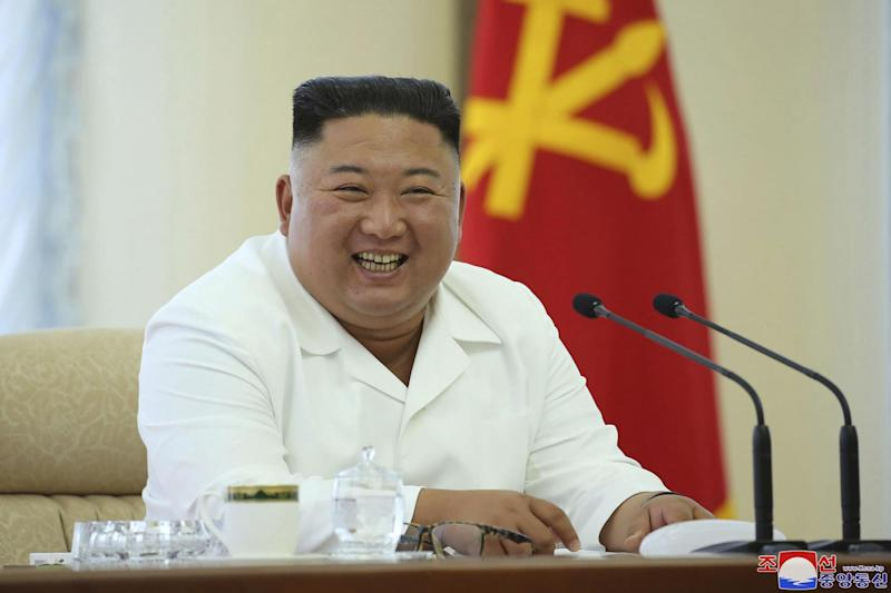 North Korean leader Kim Jong Un attends a meeting of the Politburo of the Central Committee of the Workers' Party of Korea (AP)