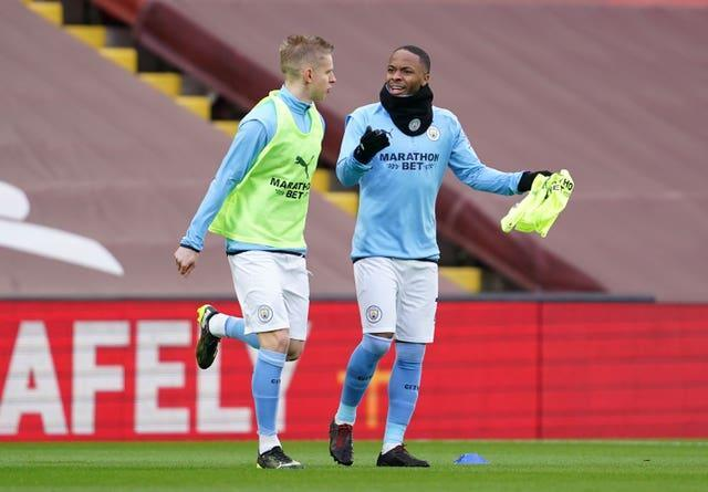 Manchester City team-mates Oleksandr Zinchenko and Raheem Sterling will face each other this weekend