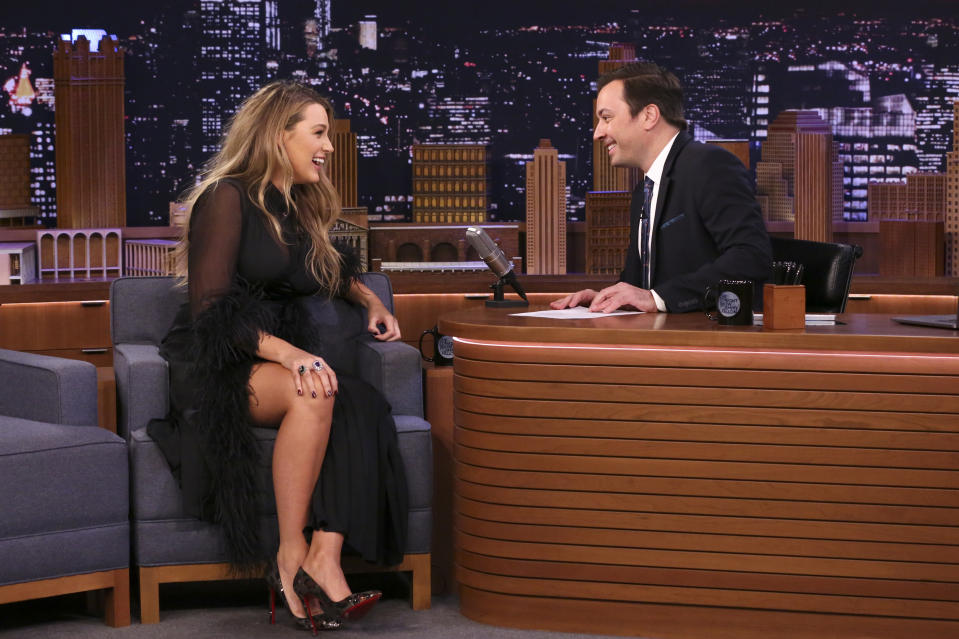 THE TONIGHT SHOW STARRING JIMMY FALLON -- Episode 1198 -- Pictured: (l-r) Actress Blake Lively during an interview with host Jimmy Fallon on January 29, 2020 -- (Photo by: Andrew Lipovsky/NBC/NBCU Photo Bank via Getty Images)