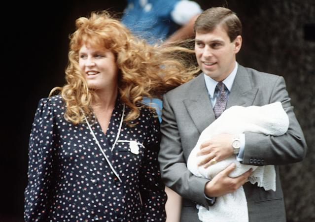 The Duke and Duchess of York leaving Portland Hospital in London with four-day old Princess Beatrice (Getty)