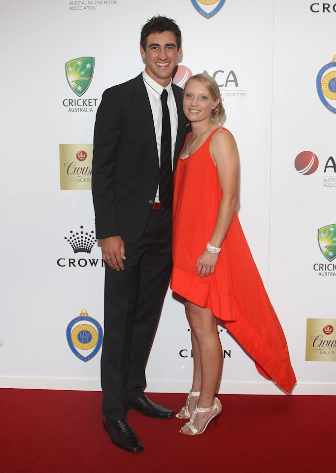 MELBOURNE, AUSTRALIA - FEBRUARY 27: Mitchell Starc and Alyssa Healy arrive at the 2012 Allan Border Medal Awards at Crown Palladium on February 27, 2012 in Melbourne, Australia.  (Photo by Lucas Dawson/Getty Images)