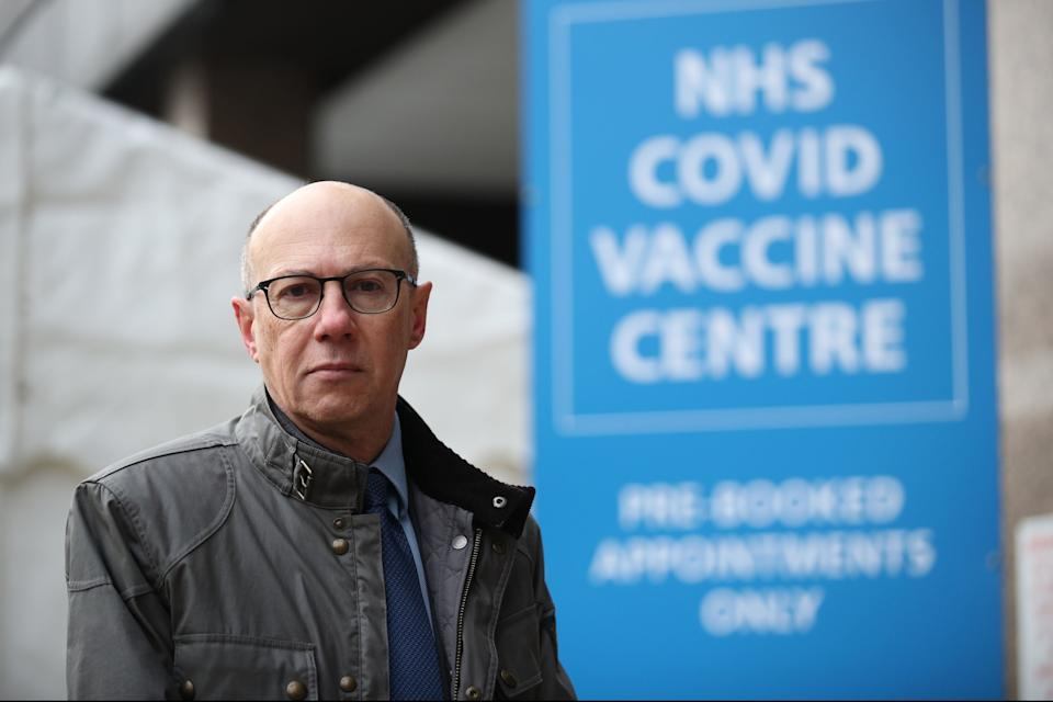 Stephen Powis outside the new NHS Covid Vaccine Centre in Wembley, north LondonPA