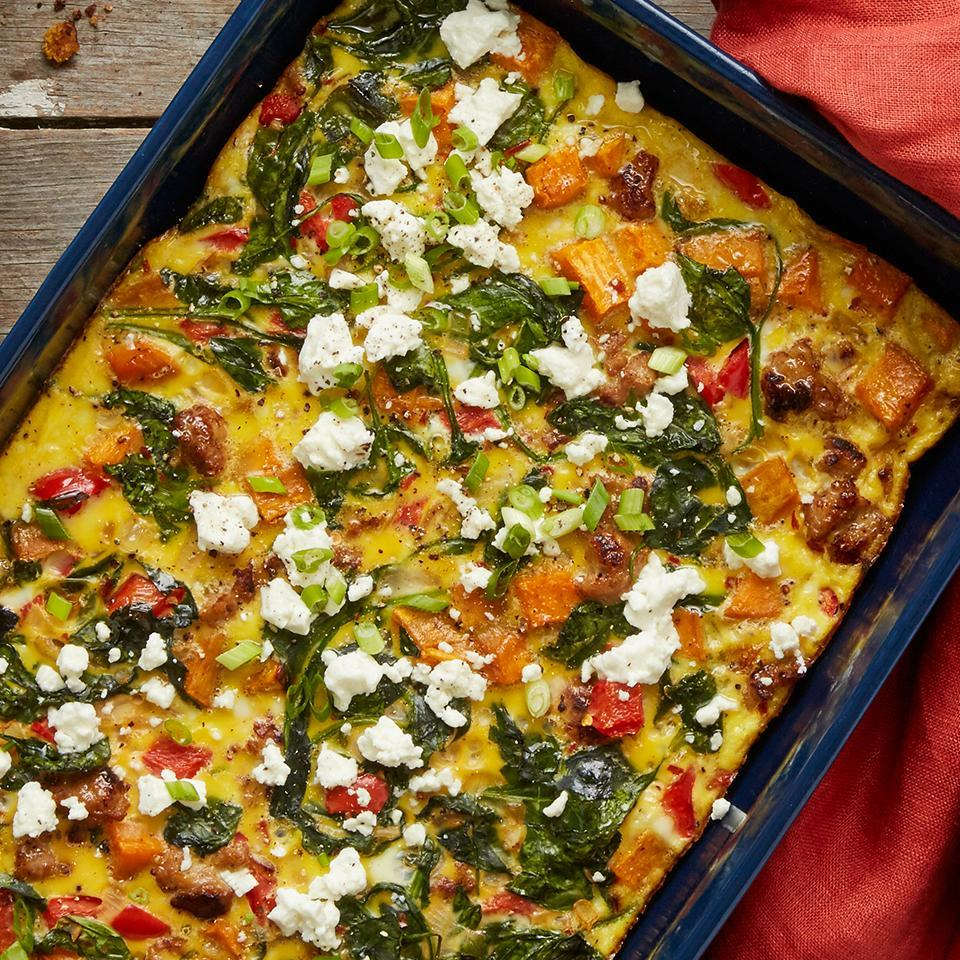 <p>This hearty breakfast casserole is the perfect dish to prepare for your next brunch gathering. Two recipes combine into one by adding Roasted Sweet Potatoes to this casserole.</p>