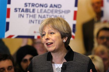 Britain's Prime Minster Theresa May delivers a stump speech at Netherton Conservative Club during the Conservative Party's election campaign, in Dudley