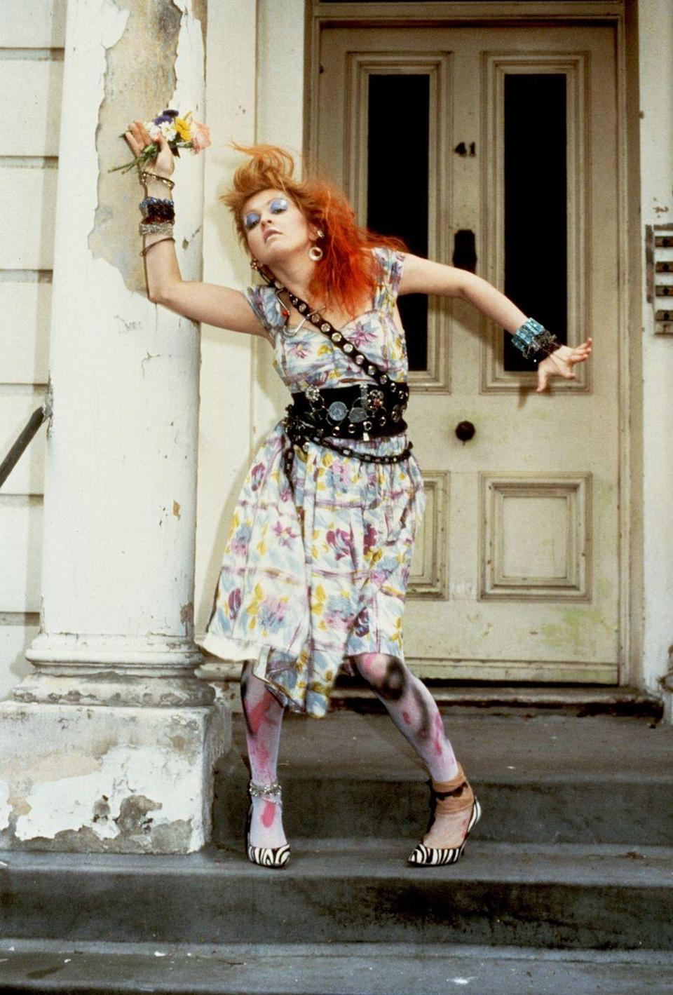 <p>Cyndi Lauper in a colorful glam-rock look. </p>