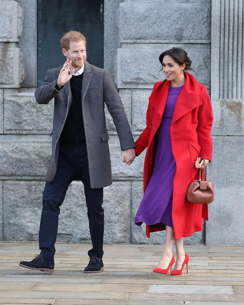 "<p>Meghan and Harry kept each other close for their first joint engagement in 2019. The royal couple greeted the crowd where they greeted the crowd and <a href=""https://www.townandcountrymag.com/society/tradition/a23776669/meghan-markle-due-date-2019/"" rel=""nofollow noopener"" target=""_blank"" data-ylk=""slk:Meghan hinted about her due date."" class=""link rapid-noclick-resp"">Meghan hinted about her due date.</a></p>"