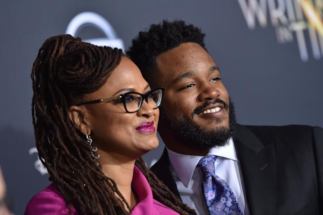 "Directors Ava DuVernay and Ryan Coogler arrive at the premiere of DuVernay's ""A Wrinkle In Time"" at El Capitan Theatre on Feb. 26, 2018, in Los Angeles."