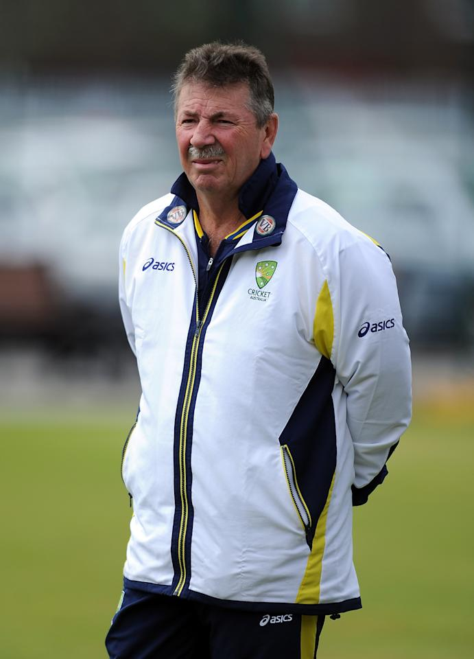 MANCHESTER, ENGLAND - AUGUST 06:  Australia A coach Rod Marsh looks on during the Australia A Nets Session at Old Trafford on August 6, 2012 in Manchester, England.  (Photo by Chris Brunskill/Getty Images)