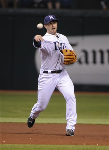 Tampa Bay Rays third baseman Evan Longoria makes the throw to first to get the out on Kansas City Royals' Eric Hosmer's following Hosmer's ground ball during the third inning of a baseball game, Tuesday, Aug. 21, 2012, in St. Petersburg, Fla. (AP Photo/Brian Blanco)