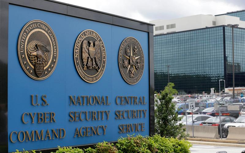 The sign outside the National Security Agency (NSA) campus in Fort Meade - AP