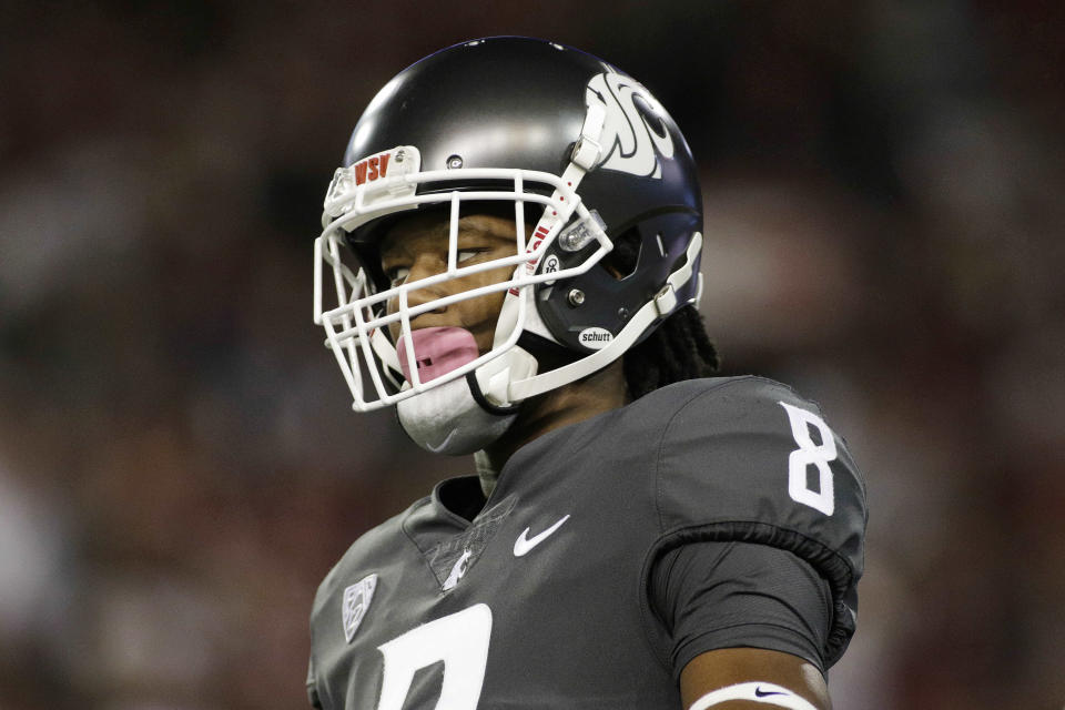 Washington State wide receiver Tavares Martin Jr. (8) stands on the field during the first half of an NCAA college football game against Southern California in Pullman, Wash., Friday, Sept. 29, 2017. (AP Photo/Young Kwak)