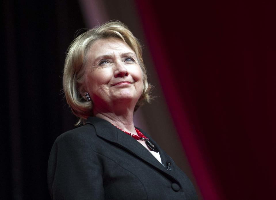 """FILE - This July 16, 2013 file photo shows former Secretary of State Hillary Rodham Clinton addressing the 51st Delta Sigma Theta National Convention in Washington. NBC announced Saturday, July 27, that actress Diane Lane will star as the former first lady and secretary of state in a four-hour miniseries, """"Hillary."""" (AP Photo/Cliff Owen, File)"""