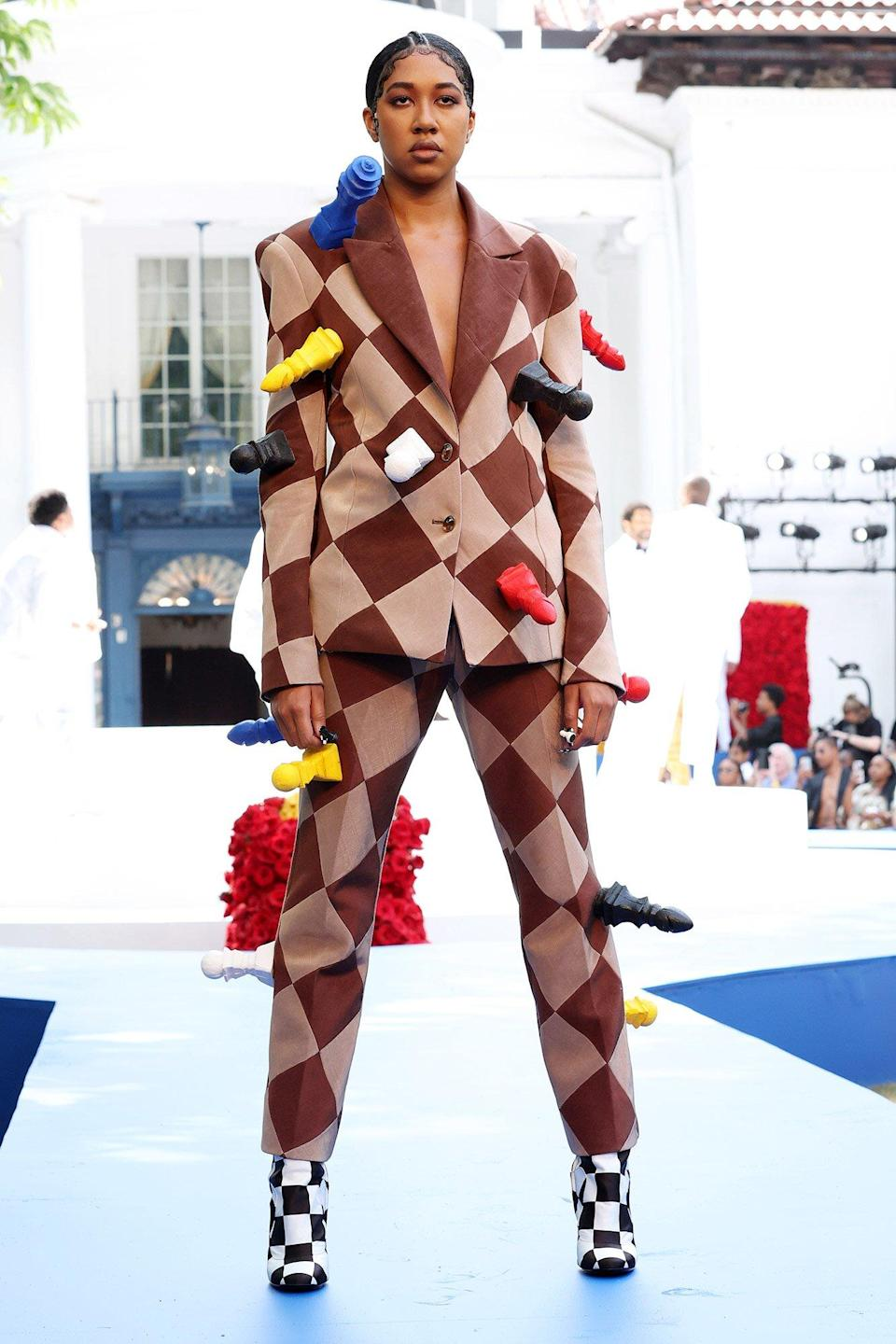 Aoki Lee Simmons walks the runway during the Pyer Moss Couture Haute Couture Fall/Winter 2021/2022 show as part of Paris Fashion Week on July 10, 2021 in Irvington