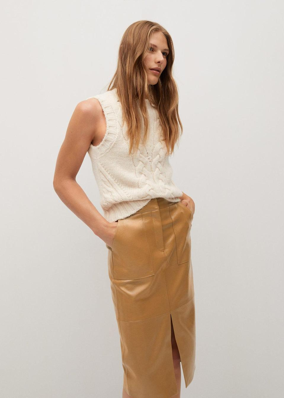 <p>This <span>Faux-leather pencil skirt</span> ($60) is a standout essential that is extremely wearable.</p>