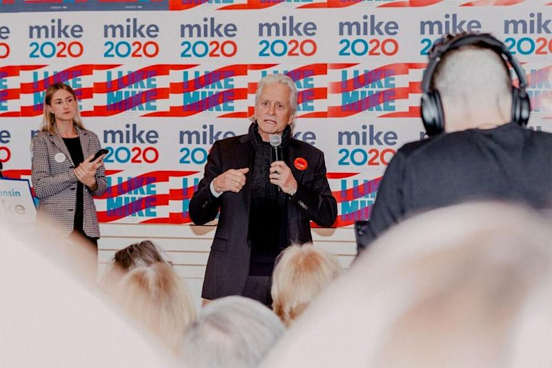 Michael Douglas (center) campaigning for Mike Bloomberg in Wisconsin on Saturday   Mike Bloomberg 2020