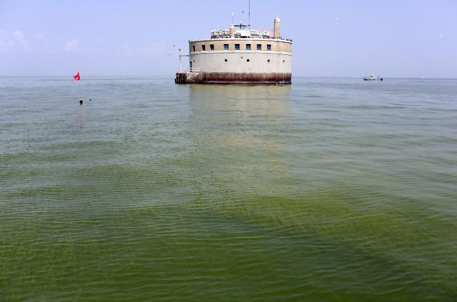 The City of Toledo water intake crib is surrounded by algae, Sunday, Aug. 3, 2014, in Lake Erie, about 2.5 miles off the shore of Curtice, Ohio. More tests are needed to ensure that toxins are out of Toledo's water supply, the mayor said Sunday, instructing the 400,000 people in the region to avoid drinking tap water for a second day. Toledo officials issued the warning early Saturday after tests at one treatment plant showed two sample readings for microcystin above the standard for consumption, possibly because of algae on Lake Erie. (AP Photo/Haraz N. Ghanbari)