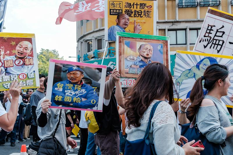 Anti Han Kuo-yu Protesters marching in Kaohsiung, Taiwan on December 21, 2019, holding placards with Han Kuo-yu's face and chanting slogans asking him to dismiss. An estimated 500.000 took to the streets of theof Kaohsiung City and participated in a march organized by the local activist's group We Care Themarch was supposed to demand the recall of the citys mayor and opposition presidential candidateHan Kuo-yu.Han Kuo-yu. (Photo by Jose Lopes Amaral/NurPhoto via Getty Images)