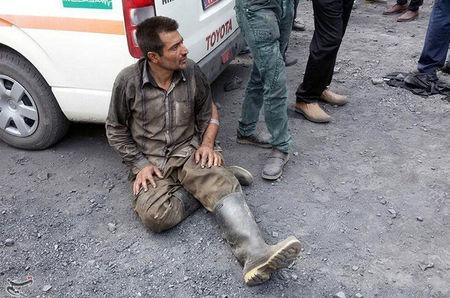 A man reacts near the site of an explosion in a coal mine in Golestan Province, in northern Iran, May 3, 2017. Tasnim News Agency/Handout via REUTERS