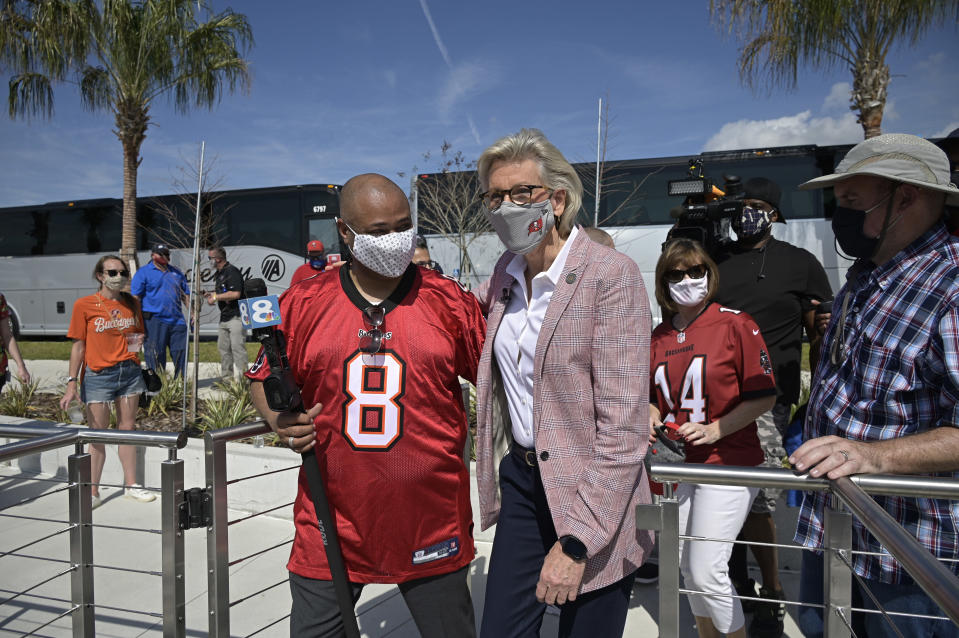 FILE - In this Wednesday, Feb. 10, 2021 file photo, Tampa Mayor Jane Castor arrives before a celebration of their Super Bowl 55 victory over the Kansas City Chiefs with a boat parade in Tampa, Fla. On Friday, Feb. 12, 2021, The Associated Press reported on a photo circulating online incorrectly asserting it shows Tampa Mayor Jane Castor not wearing a mask at the Super Bowl. The mis-captioned photo was actually taken on Sept. 30, 2020 at the same stadium. (AP Photo/Phelan M. Ebenhack)
