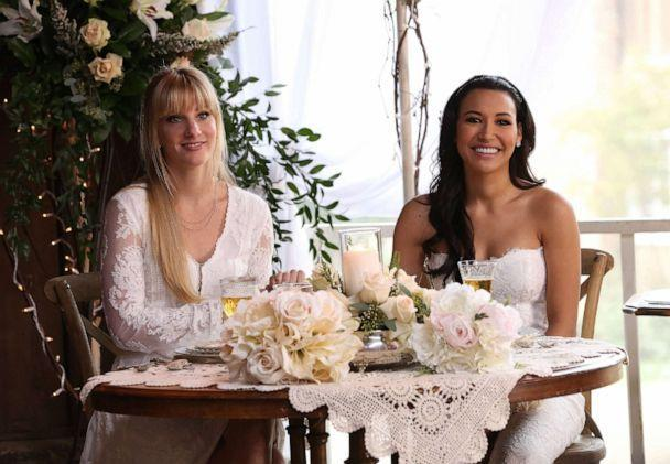 PHOTO: GLEE: Heather Morris and Naya Rivera portray Brittany and Santana during an episode of the television show 'Glee' when their characters get married. (FOX Image Collection via Getty I)