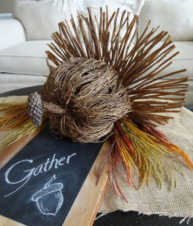"<p>Made from mostly sticks and twigs, this turkey decoration is full of charm. Kids can even help collect materials in the backyard.</p><p><em><a href=""http://madeinaday.com/2013/11/06/rustic-turkey-centerpiece-turkeytablescapes/"" rel=""nofollow noopener"" target=""_blank"" data-ylk=""slk:Get the tutorial at Made in a Day »"" class=""link rapid-noclick-resp"">Get the tutorial at Made in a Day »</a></em></p>"