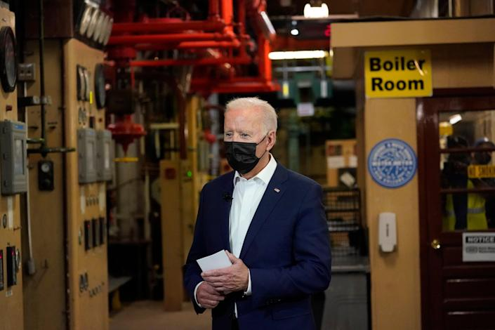 Joe Biden visits the Carrollton Water Treatment plant in New Orleans on 6 May.AP