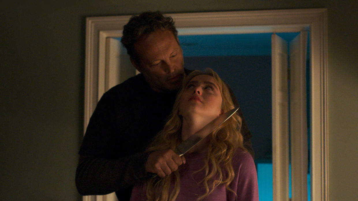 Vince Vaughn and Kathryn Newton swap bodies in the wry slasher movie 'Freaky'. (Universal Pictures)