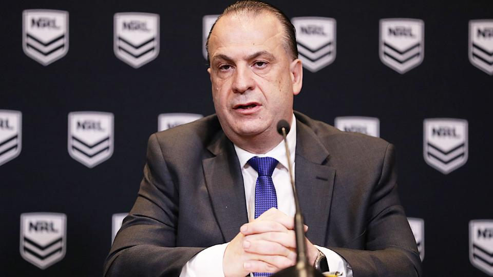 Pictured here, ARLC chairman Peter V'landys at an NRL press conference.