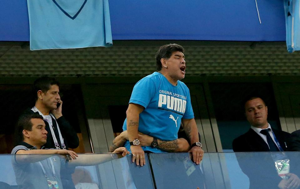 Diego Maradona attended Argentina's 2-1 victory over Nigeria at the 2018 World Cup. (Getty)