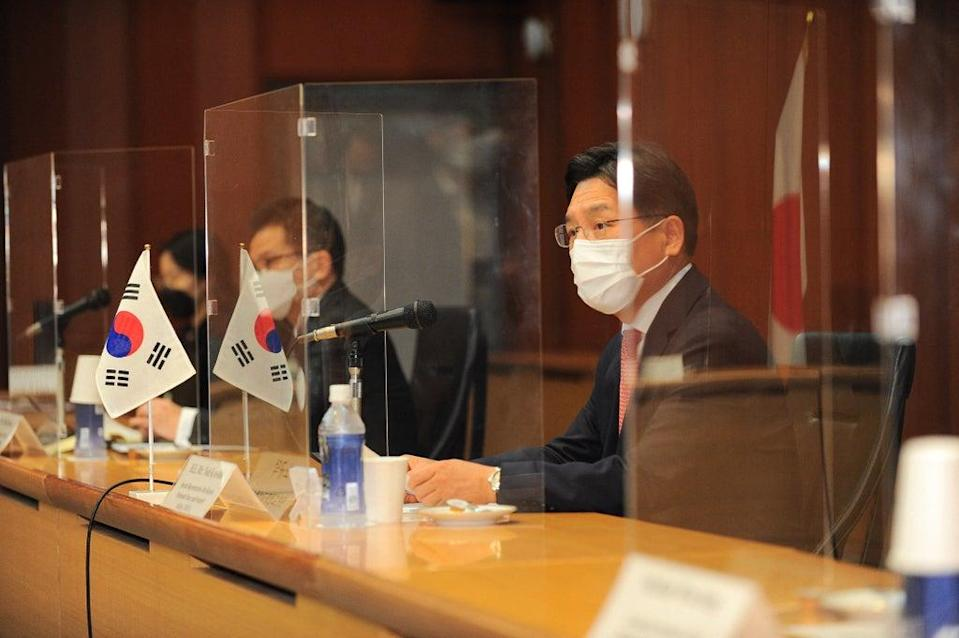 US, Japan, North Korea summit was held with the aim to discuss how to emerge from a standoff with North Korea over its nuclear weapons and ballistic missile programmes (POOL/AFP via Getty Images)