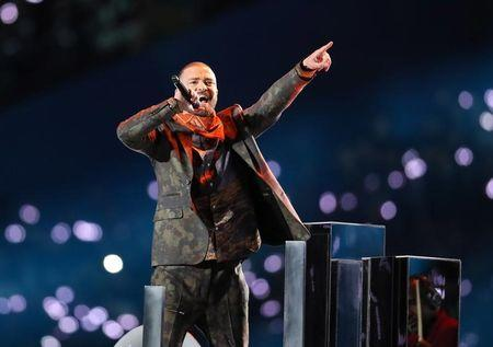 Feb 4, 2018; Minneapolis, MN, USA; Recording artist Justin Timberlake performs during the halftime show in Super Bowl LII between the New England Patriots and the Philadelphia Eagles at U.S. Bank Stadium.  Matthew Emmons-USA TODAY Sports