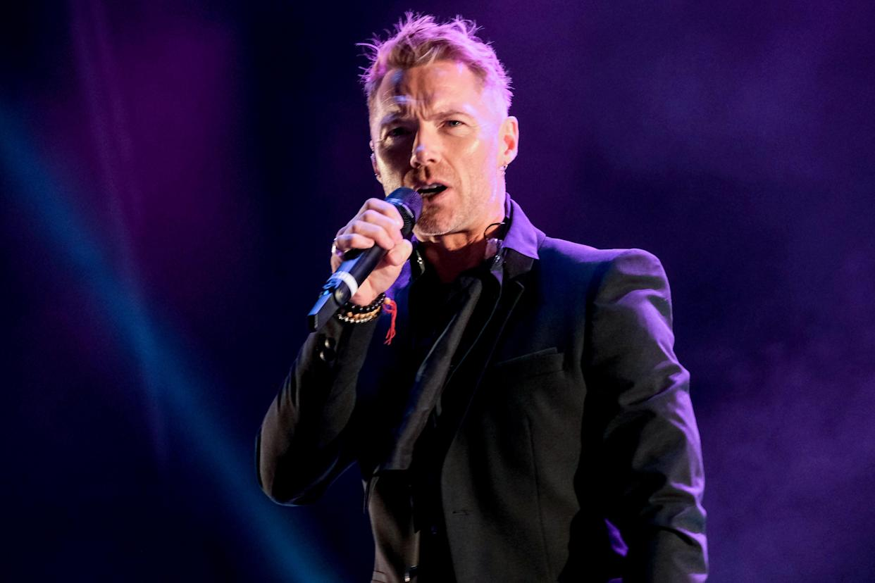 NEWCASTLE UPON TYNE, ENGLAND - SEPTEMBER 11: (EDITORIAL USE ONLY) Ronan Keating performs at Virgin Money Unity Arena on September 11, 2020 in Newcastle upon Tyne, England. (Photo by Thomas M Jackson/Getty Images)