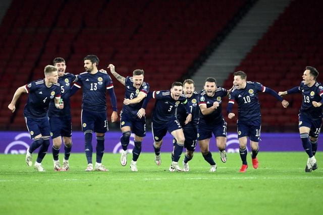 Scotland celebrate their penalty shoot-out win over Israel