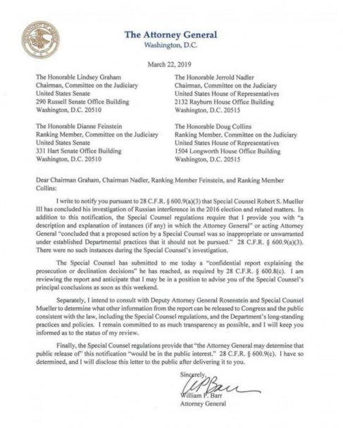 PHOTO: The Department of Justice notification to Congress regarding the conclusion of the Mueller Investigation, March 22, 2019. (U.S. Department of Justice)