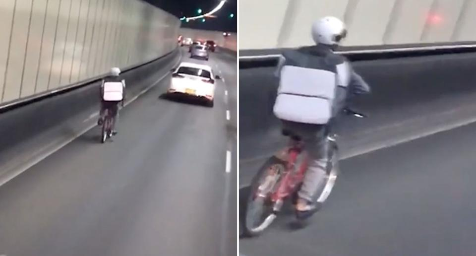 A delivery rider seen going through the M5 tunnel in Sydney.