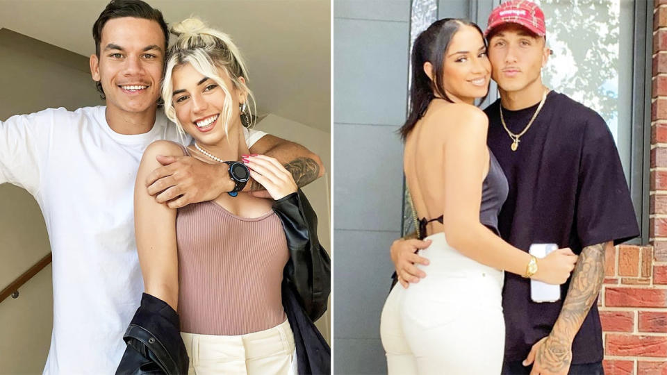 Shai Bolton and Daniel Rioli, pictured here with their girlfriends.