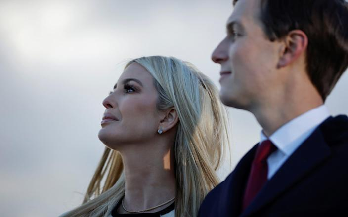 Ivanka Trump appeared to briefly tear up as she waved her father off - Reuters