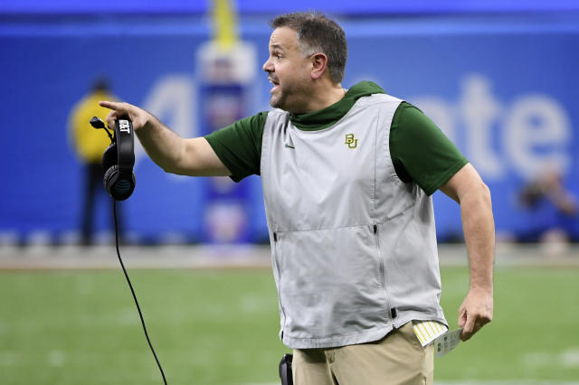 Baylor head coach Matt Rhule calls out from the bench in the first half of the Sugar Bowl NCAA college football game against Georgia in New Orleans, Wednesday, Jan. 1, 2020. (AP Photo/Bill Feig)
