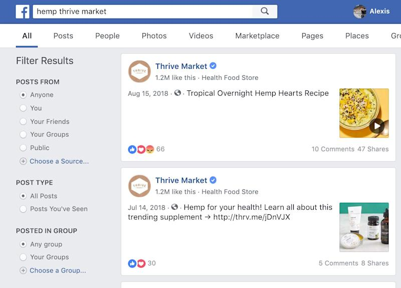 "Facebook search generated for ""hemp thrive market"" shows photos and hyperlinks to Thrive Market post promoting hemp products and linking to product purchase website."