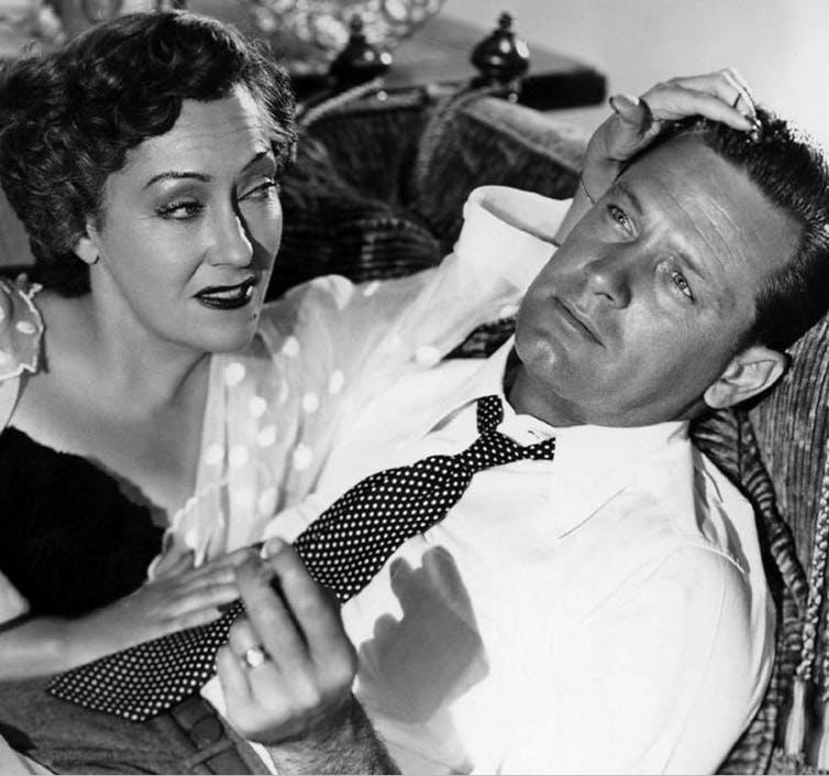 Gloria Swanson and William Holden in a publicity still from Sunset Boulevard.